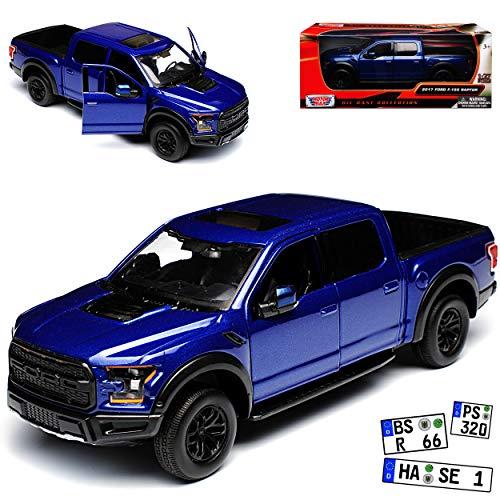 Motormax Ford F-150 Raptor Blau Pick-Up 13. Generation Ab 2014 Version 2017 1/27 1/24 Modell Auto mit individiuellem Wunschkennzeichen