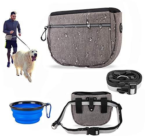 FiveFire Futterbeutel für Hunde, Hunde Leckerlie Tasche,Wasserdicht Futtertasche,Leckerlibeutel für Hunde,Hunde Futtertasche Beutel und Reisenapf, für Hundetraining und Futteraufbewahrung (Grau)