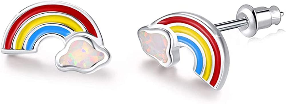 CiNily Opal Stud Earrings Gold Plated Cute Small Animal Earrings Horse/Rainbow/Tiny Triangle Hypoallergenic Earrings for Women Girls