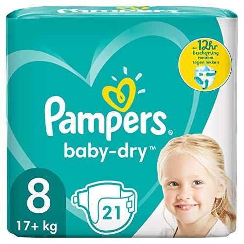Pampers Baby-Dry Größe 8, 21 Windeln, bis zu 12Stunden Rundumschutz, 17kg+