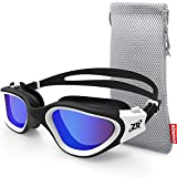 ZIONOR Swimming Goggles, G1 Polarized Swim Goggles UV Protection Watertight Anti-Fog Adjustable Strap Comfort fit for Unisex Adult Men and Women (Polarized Blue Lens White Frame)