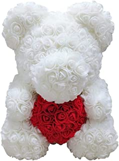 Rose Teddy Bear - Mothers Day Fathers Anniversary Best Perfect New Unique Handmade Gift Ideas for Lovers Women Men Teen Wife Husband Him Her Teen Son Daughter Valentine Wedding Birthday Love 25cm