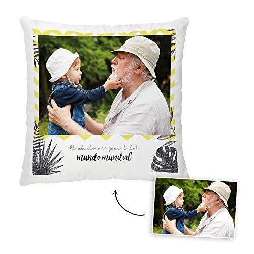 Fotoprix Cojín Personalizado con Foto para Abuelo o Abuela | Regalo Original día del Abuelo | Varios diseños Disponibles (Abuelo, 35 x 35 cms)