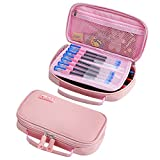 Pencil Case for Girls, Kalokey Stationery Bag Pen Pouch Marker Holder Organizer Large Capacity with Zippers, Multifunctional Portable for School College Office (Pink)