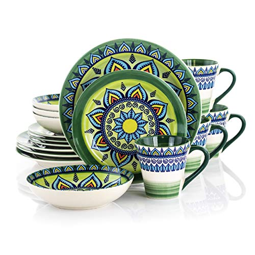 Elama Zen Green Mozaik Multicolored Round Stoneware Mandala Pattern Dinnerware Set, 16 Piece