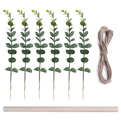 Eucalipto Artificial, 6 vides de eucalipto con 1 Rollo de Cuerda de Yute y 1 Poste de Madera, Colgante de Pared de eucalipto para el hogar, Dormitorio, vegetación, decoración de la Pared de la Boda