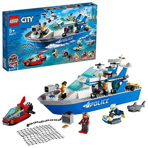 LEGO 60277 City Police Patrol flotante barco y juguete de drones