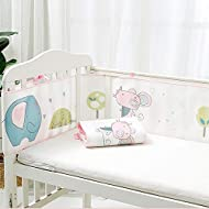 HEALTH MATERIAL--Combined with 100 polyester fibre and cotton, protect the safety of baby small limbs. SIZE--Two segments provided for combination, hook and loop fasteners to fix, adjustable length, safe fastenings ensure liner stays securely in plac...