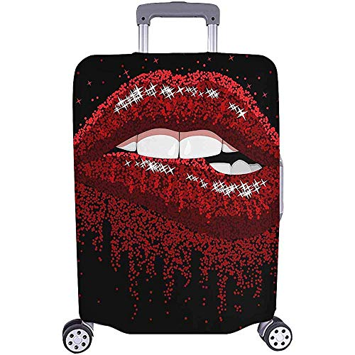 Carneg Luggage Cover,Fashion Sexy Red Lips Biting Sparkles Style Travel Luggage Cover Baggage Suitcase Protector for 22'-24' Luggage