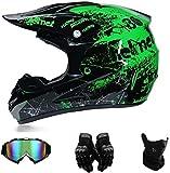 XiAOL Casco da bicicletta Full Face nero verde casco da moto cross uomo enduro casco con occhiali...