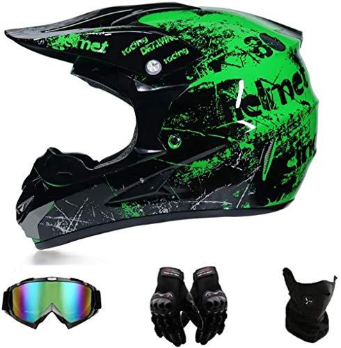 XIAOL Grün Fahrradhelm Downhill Motocross Motorradhelm Downhill Fullface Helm, Mountainbike BMX MTB Helm, D.O.T Standard Crosshelm mit Brille Handschuhe Maske (XL 58-59cm)