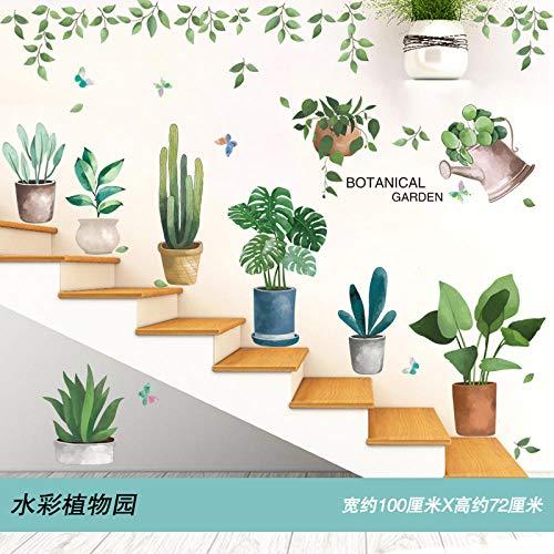 Pegatina de pared animal de dibujos animados pegatina de escalera autoadhesiva pegatinas de adorno de pared Jardín botánico de acuarela_Big