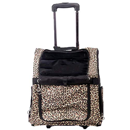 XiYou Comfortable Pets Trolley Case Portable Cats Transport Travel Dogs Backpack Cart Leopard Print