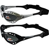 2 Pair Birdz Seahawk Polarized Sunglasses Floating Jet Ski Goggles Sport Kite-Boarding, Surfing, Kayaking,1 black with Smoke Lenses and 1 Silver Smoke lenses