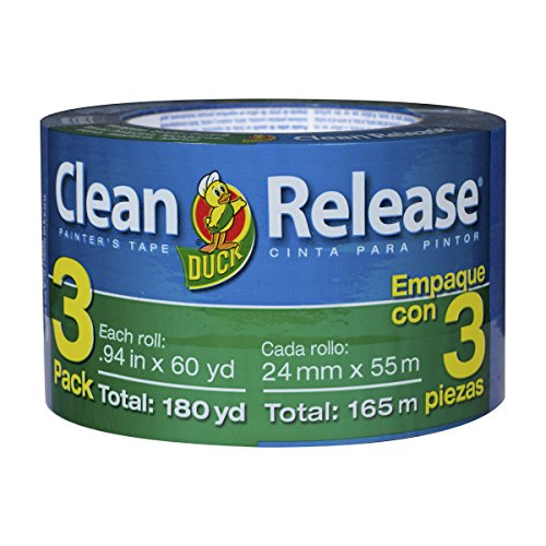 Blue Painter's Tape 1-Inch (0.94-Inch x 60-Yard) Duck Clean Release, Multi-Use, 3 Rolls, 180 Total Yards