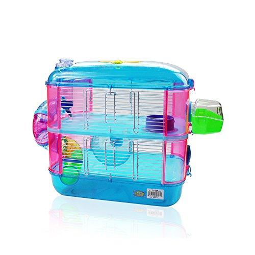 DI ZE LIN PET HOME S.L DZL® Jaula para Hamster de plástico Duro, caseta Bebedero comedero Rueda Todo Incluido (40 * 26 * 40 2 Pisos, Azul)