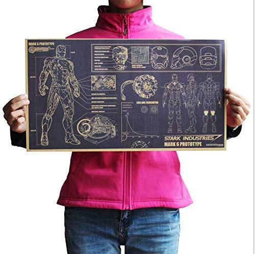 Eqerlian Iron Man Film Retro Poster Schmuck Vintage Anime Poster Drucke Wohnzimmer Dekorative Malerei Cafe Kraftpapier Wandaufkleber