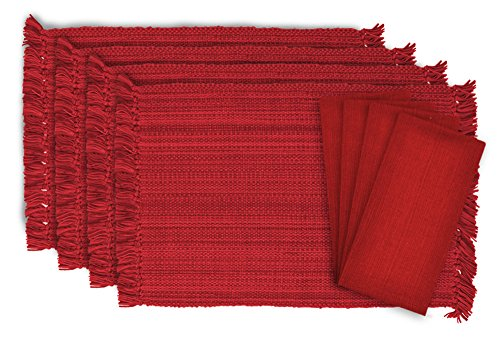 DII Tonal Fringe Linen Set, 4 Placemats & 4 Napkins, Tango Red - Perfect for Fall, Dinner Parties, BBQs, Christmas, Weddings and Everyday Use