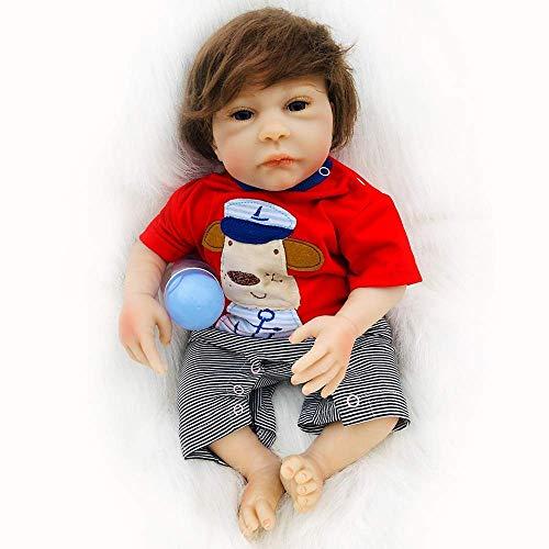 WYZQ Muñecas Reborn Baby Doll Recién Nacido Vinilo Suave Silicona 18 Pulgadas 46cm Ojos Abiertos Aspecto Real Realista Reborn Baby Doll Juguete Realista Imán Chupete, Muñecas Nutritivas