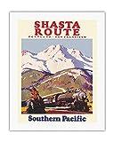 Pacifica Island Art - Shasta Reiseroute - Portland, San Francisco - Southern Pacific Eisenbahnen - Retro Eisenbahn Plakat von Maurice Logan c.1930s - Leinwand Kunstdruck 51 x 66 cm