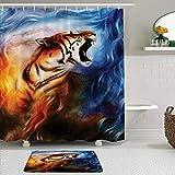 vhg8dweh Juegos de Cortinas de baño con alfombras Antideslizantes, Safari Wild and Angry Tiger Portrait Fire Flame Brave Mammal Jungle Forest King Fearless Roar Image,con 12 Ganchos