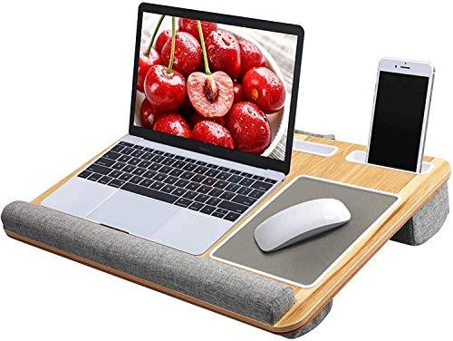 Burhetten Lap Desk incorporado Mouse Pad y almohadilla de muñeca – Se adapta a escritorio de hasta 17 pulgadas, soporte para ordenador portátil con tableta (grano de madera)