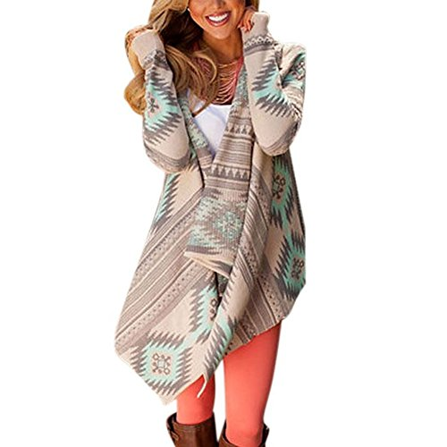 Highdas Damen Pullover Cardigan Causal Sweater Geometric Drucken Langarm Kimono Cardigan Mantel Pullover Cover up Tops
