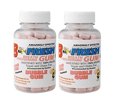 B Fresh Bubble Gum Flavored Gum, Xylitol Gum, Natural Gum, Vegan, B12, No Sugar, 50 Sugar Free Pieces per Pack - (2 pack-100 Total Pieces)