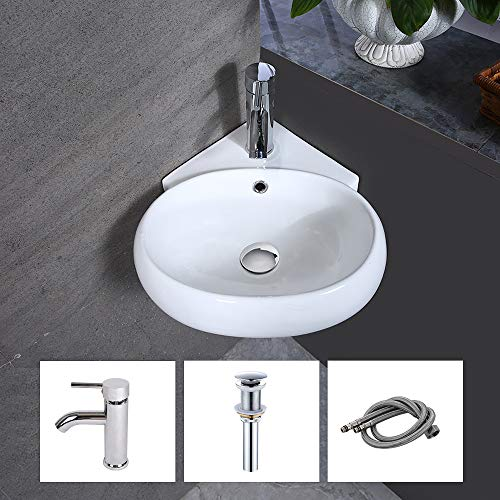White Ceramic Triangle Bathroom Wall Mount Sink Corner Sink with Single Faucet Hole and Overflow