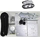Mnjin Robot programable de Bricolaje Robot Smart Car Platform/Tank Chassis Crawler, 12V Motor Drive with Encoding Disk, DIY Assembly Stem Toy, for Arduino Learning, Silver