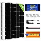 ECO-WORTHY 2 kW·h Solarmodul System mit Wechselrichter 480 W 24 V Solarpanel Kit für netzunabhängige Wohnmobile: 4 Stücke 120W Solarmodul + 60A Laderegler + 1500W DC 24V AC 220V Solar Wechselrichter