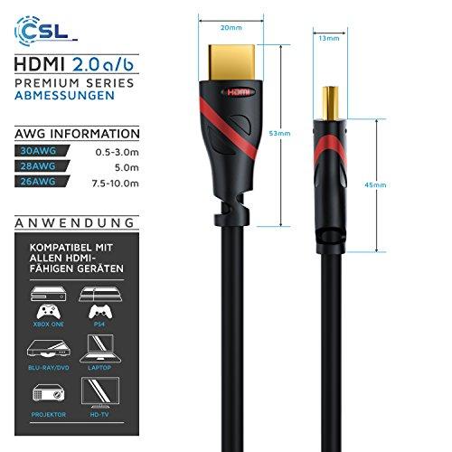 CSL - 5m - Ultra HD 4k HDMI Kabel 2.0b - High Speed with Ethernet - 3 Fach geschirmt Stecker- und Kontaktschirmung - 4K Ultra HD 2160p 60Hz 18 Gbit s Full HD 1080p - 3D ARC CEC