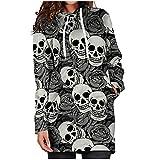 Vestido con capucha para mujer con diseño de cráneo y flores, vestido con capucha y bolsillos, T02-gris, S