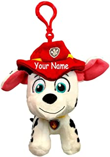 GUND Personalized Rescue Pups Marshall The Firefighter Dog Backpack Clip Plush Stuffed Animal Toy with Custom Name