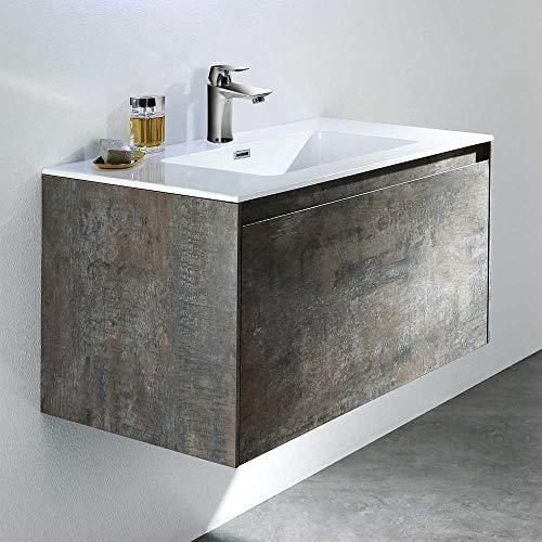 Pharao24 Waschbeckenunterschrank in Grau Eiche Nachbildung Einlass-Waschbecken Breite 100 cm