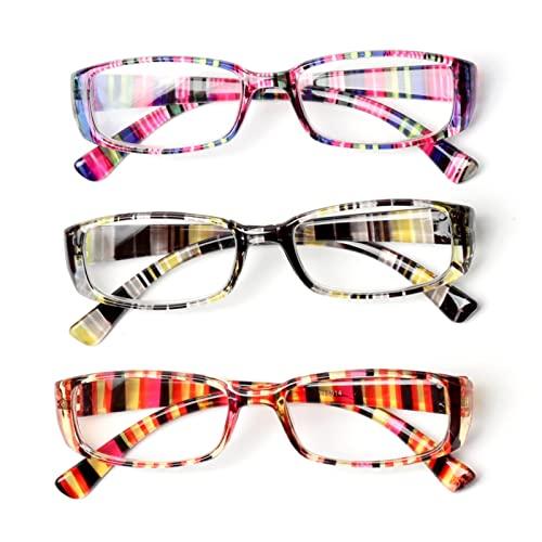 Gafas de Lectura, 3 unids Moda Retro Lectura de Lectura de vidrios for Mujeres, Hombres, presbiteral de Alta definición portátil, Lente Retro de Lupa Dioptría 0 ~ + 3.0 (Color : 0, Size : 3pcs)