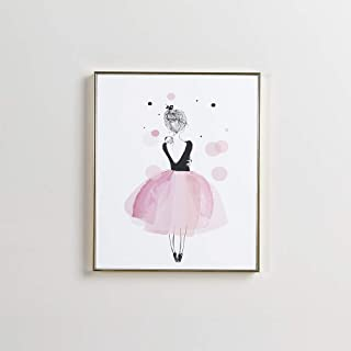 Sweet FanMuLin Pink Ballerina Dancer Girl Canvas Art Prints, Ballet Art Decor Painting, Kids Girls Room Decor, Wall Art Home Decor Artwork