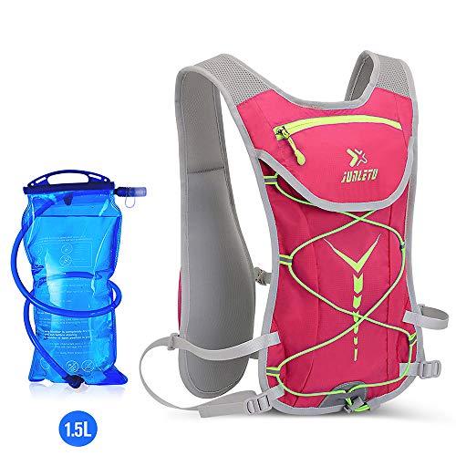 ENOUBAIL mochila de hidratación 5.5 L 6 bolsillos volumen Maratoner Running Race Chaleco de hidratación para correr, senderismo, mochila con mochila de hidratación, rosa