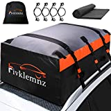 FIVKLEMNZ Car Roof Bag Cargo Carrier, 20 Cubic Feet Waterproof Rooftop Cargo Carrier with Anti-Slip Mat + 6 Reinforced Straps + 6 Door Hooks Suitable for All Vehicle with/Without Roof Rack