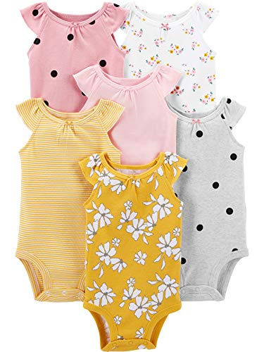 Simple Joys by Carter's 6-Pack Sleeveless Bodysuit Camisa, Rosa, Floral/Lunares, 6-9 Meses, Pack de 6