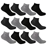 L&K-II 12/24 Paar Sneaker Socken Damen/Herren Kurzsocken Füßlinge atmungsaktive Baumwolle in Schwarz Weiß und Grau 92201VA