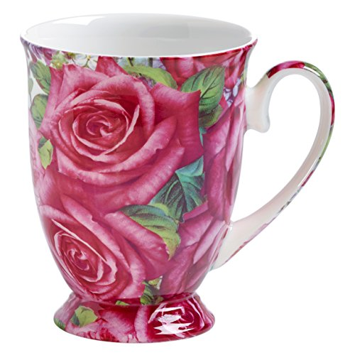 Maxwell & Williams Royal Old England Becher, Porzellan, grün, pink, 8.5 cm