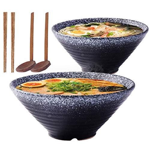 Ciotola da zuppa in ceramica giapponese Ramen, 2 set (6 pezzi) da 1600 ml con cucchiaio e bacchette, per tagliatelle istantanee, zuppa, tagliatelle, Pho, Udon(nero)