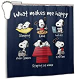 GSEGSEG Wasserdichter Polyester-Stoff Duschvorhang Snoopy Staying At Home Makes Me Happy, bedruckt, dekorativer Badezimmervorhang mit Haken, 183 x 183 cm