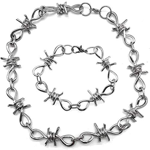 Topstylehouse Long Necklace for Women and Men, Punk Gothic Alloy Barbed Wire Brambles, Necklace Bracelet Jewelry Set (Set of 2 PCS)