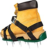 Punchau Lawn Aerator Shoes with Secure Fit Heel Strap, Heavy Duty Pre-Assembled Spiked Sandals with Metal Buckles and 3 Straps for Aerating Your Lawn or Yard