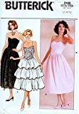 Butterick 3120 Misses 80's Strapless Evening Dress Sewing Patterns Check Offers for Size