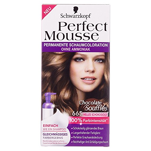 Schwarzkopf Perfect Mousse Coloration Stufe 3, 665 Helles Schokogold, Chocolate Soufflés, 93 ml