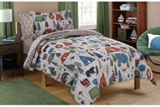 Mainstay Kids' Coordinated Bed in a Bag Includes Comforter, Pillow sham(s), Flat Sheet, Fitted Sheet, Pillow case(s), (Full, Camping Bed)