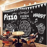 Iusasdz カスタム3D壁紙ヴィンテージチョーク手描きピザケーキ3D壁紙リビングルーム寝室レストラン壁紙-400X280Cm
